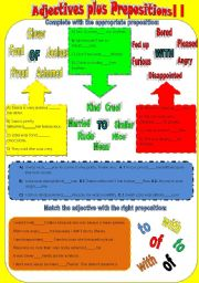 English Worksheet: Adjectives plus prepositions II - OF, TO, WITH