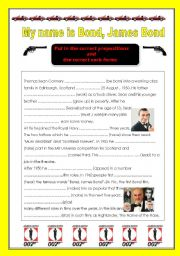 Preposition and verb form exercise with James Bond