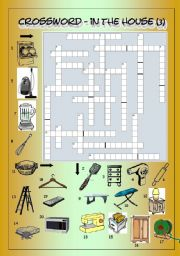 English Worksheet: Crossword - In The House 3 (Hard)