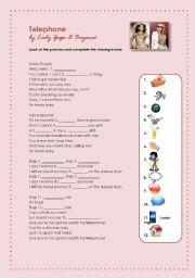English Worksheets: Telehone by Lady Gaga & Beyonc� (SONG: ELEMENTARY)