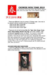 English Worksheet: Chinese New Year 2010-Part 1