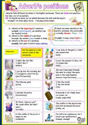 English Worksheets: adverb�s positions