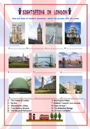 English Worksheets: SIGHTSEEING IN LONDON (2 parts)