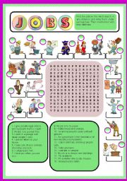 English Worksheet: JOBS - word search + matching definition + key