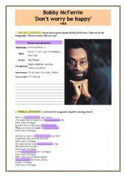 English Worksheets: Bobby McFerrin ´Don´t worry be happy´