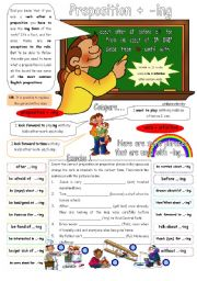 English Worksheets: Preposition + Gerund. 2 pages & key.