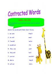 English Worksheet: Contracted words / Short Forms