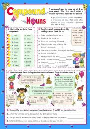 English Worksheets: Basic Compound Nouns for Upper Elementary and Intermediate Stds.