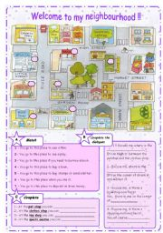 English Worksheet: THE CITY: Buildings + Prepositions --- B&W version included
