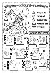 English Worksheet: SHAPES-COLOURS AND NUMBERS
