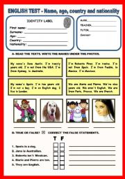 English Worksheet: Test - Name, age, country, nationality - 4 Pages