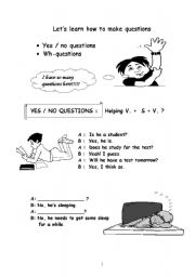 English Worksheet: Question words and yes-no questions