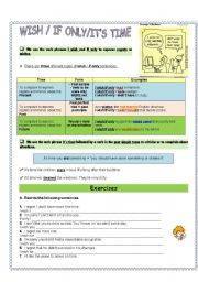 English Worksheet: I wish/if only/it�s time - verb phrases
