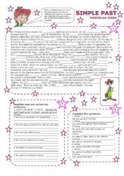 English Worksheet: simple past irregular verbs part 3 (2 pages with key)