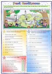 English Worksheet: Past Continuous: What was happening in the park?