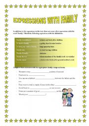 English Worksheets: EXPRESSIONS WITH FAMILY