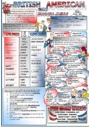 English Worksheet: Brtitish and American English