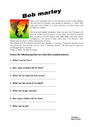 English Worksheet: Bob marley biography