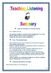 English Worksheets: Article summary: TEACHING LISTENING (Didactics) (2 pages)