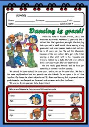 English Worksheets: DANCING IS GREAT! ( 2 PAGES )