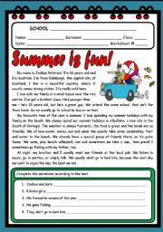 English Worksheet: SUMMER IS FUN! ( 2 PAGES )