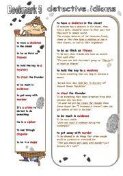 English Worksheet: DETECTIVE IDIOMS Bookmark