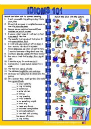 English Worksheets: Idioms 101