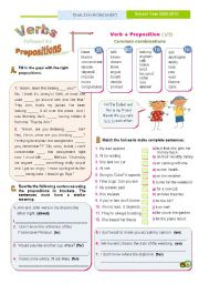 English Worksheets: Verbs followed by prepositions (1) - Common combinations with
