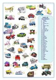 English Worksheets: MEANS OF TRANSPORTS