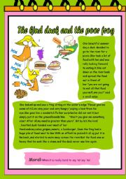 English Worksheet: The kind duck and the poor frog