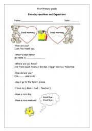 English Worksheets: Everyday questions and Expressions