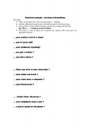 English Worksheets: worksheet on questions