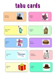 English Worksheet: Game: TABU