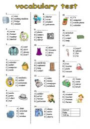vocabulary test for elementary