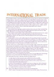 English Worksheets:  READING  COMPREHENSION TASK ON INTERNATIONAL TRADE