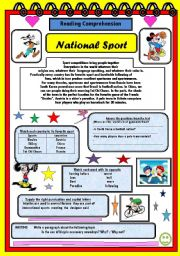 English Worksheet: Natoal Sport             READING COMPREHENSION