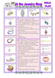 English Worksheets: At the Jewelry Shop - Role Play