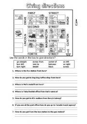 giving direction esl worksheet by muhran. Black Bedroom Furniture Sets. Home Design Ideas
