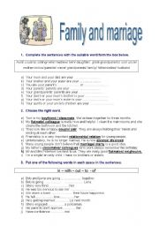 English Worksheet: family and marriage