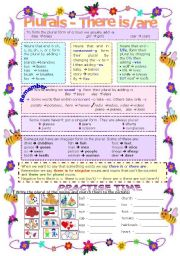 English Worksheet: PLURALS -  THERE IS/ARE