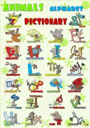 English Worksheet: ANIMALS ALPHABET pictionary