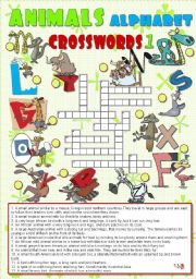English Worksheets: ANIMALS ALPHABET crosswords 1