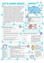 English Worksheets: LET�S LEARN ABOUT... HIPPO (with key)