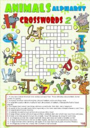 English Worksheets: ANIMALS ALPHABET crosswords 2