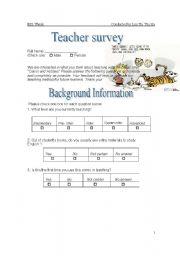 English Worksheets: Teacher�s questionaire about using Calvin and Hobbes