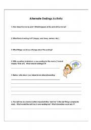 english worksheets alternate ending worksheet. Black Bedroom Furniture Sets. Home Design Ideas