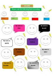 English Worksheets: COLORS-FACE