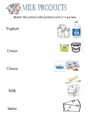 English Worksheets: milk products