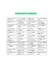 Homographs dominoes