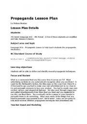 English worksheets: Propaganda Lesson Plan